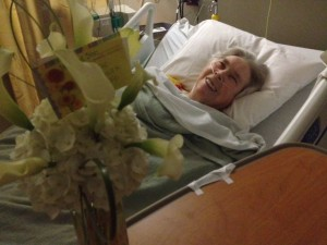 Pelino in hospital w: calla lilies 2-27-2015
